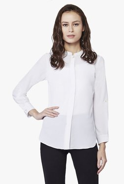 AND White Band Neck Shirt Top