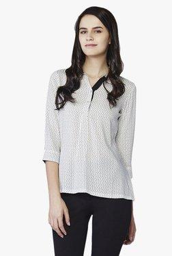 AND White Printed Shirt Top