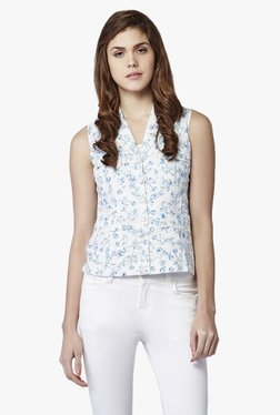 AND White Printed Vest Top