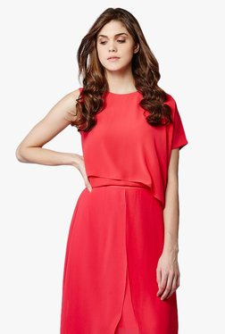 AND Pink Round Neck Asymmetric Top