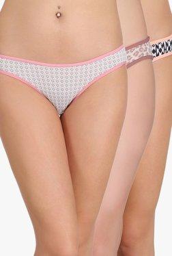 Clovia Off White, Beige & Black Bikini Panties (Pack Of 3)