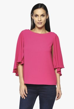 AND Pink Round Neck Cape Top