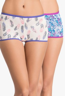 Clovia White & Blue Mid Waist Boyshort Panties (Pack Of 2)