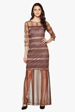 AND Brown Striped Maxi Dress