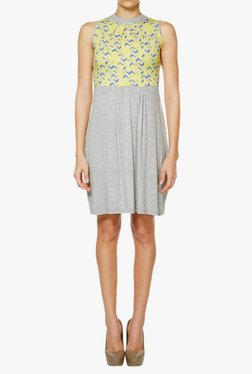 AND Yellow & Grey Printed Above Knee Dress