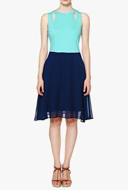AND Blue Regular Fit Knee Length Dress