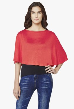 AND Coral Round Neck Capelet Shrug