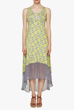 AND Yellow Printed Midi Dress
