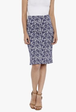 AND Navy & Grey Printed Knee Length Skirt