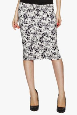 AND Beige Floral Print Knee Length Skirt