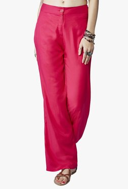 Global Desi Pink Regular Fit Flat Front Trousers