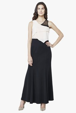 AND Off White & Black Regular Fit Maxi Gown
