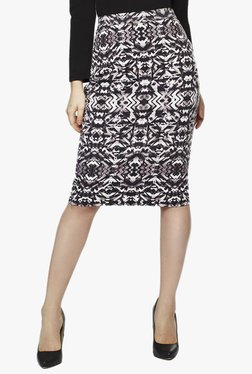 AND Brown Printed Knee Length Skirt