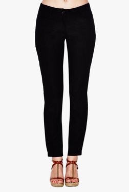 AND Black Slim Fit Flat Front Trousers