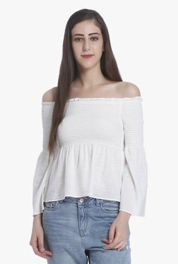 Only White Full Sleeves Off Shoulder Top