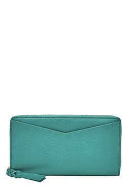 75df86782585b Fossil Caroline RFID Teal Green Solid Leather Wallet