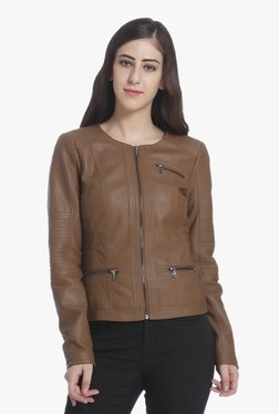 Only Cognac Full Sleeves Faux Leather Jacket