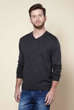 Zudio Anthra Melange Regular Fit V-neck Sweater