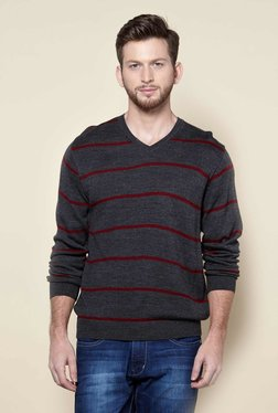 Zudio Anthra Melange Regular Fit Striped Sweater