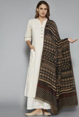 Utsa By Westside Beige Pure Wool Shawl