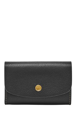 Fossil Haven Black Solid Leather Flap Wallet