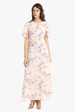 Vero Moda Off White Floral Print Maxi Dress