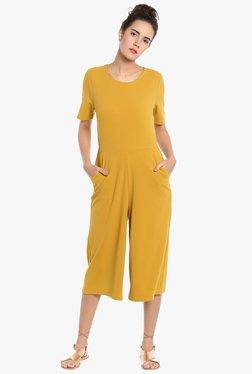 Vero Moda Mustard Round Neck Culottes Jumpsuit