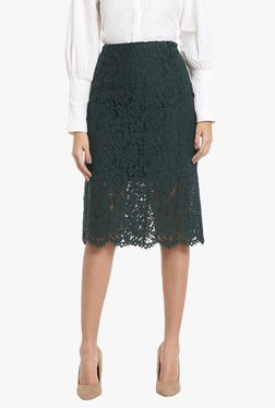 Vero Moda Dark Green Lace Knee Length Skirt