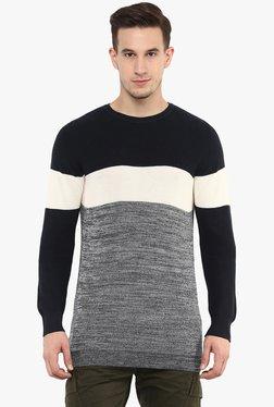 Celio* Navy Full Sleeves Round Neck Striped Sweater