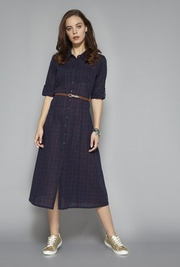 Bombay Paisley By Westside Navy Checked Dress With Belt