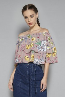 Nuon By Westside Dull Pink Caral Off-the-shoulder Blouse