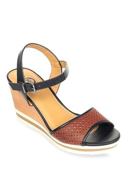 Pavers England Dark Brown & Black Ankle Strap Wedges