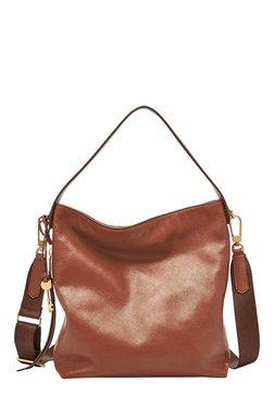 e3e81fcc8c71 Fossil Maya Brown Solid Leather Shoulder Bag