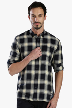 883 Police Black Slim Fit Checks Shirt