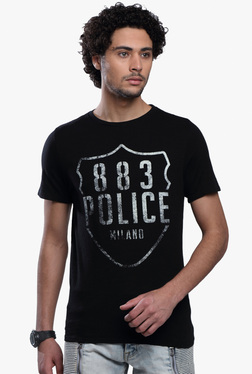 883 Police Black Half Sleeves Printed Cotton T-Shirt