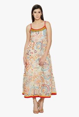 Globus Beige Floral Print Midi Dress