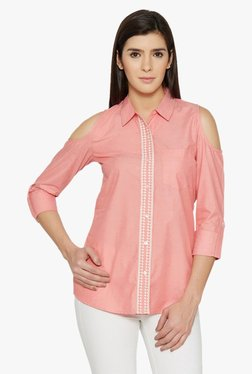 Globus Coral Embroidered Cold Shoulder Shirt