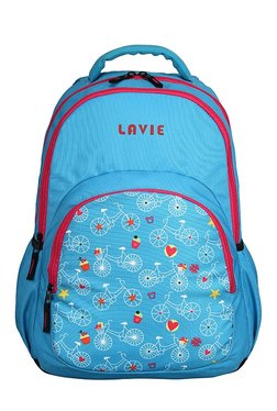 Lavie Chic 6 Sky Blue & White Printed Backpack