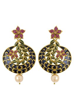 Voylla Golden & Blue Alloy Pearl Drop Earrings