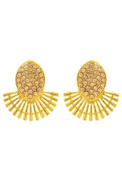 Voylla Golden Alloy Stud Earrings