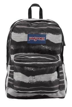 JanSport Superbreak Black & White Printed Polyester Backpack