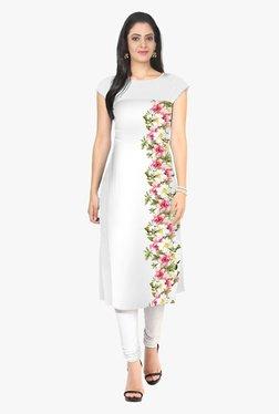 Ziyaa Off White Floral Print Crepe Kurta - Mp000000001982442