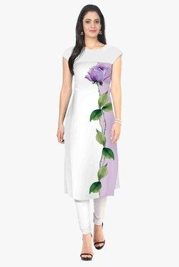 Ziyaa Off White Floral Print Crepe Kurta - Mp000000001982840