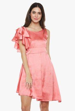 Athena Pink Slim Fit Above Knee Ruffled Dress