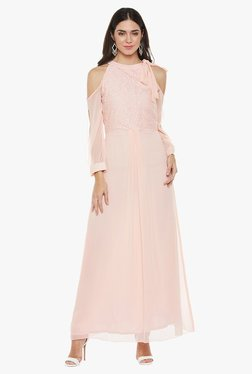Athena Pink Lace Maxi Tie Up Dress
