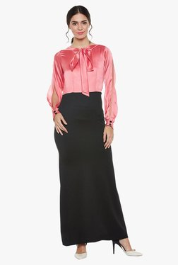 Athena Pink & Black Slim Fit Maxi Tie-Neck Blouse Dress