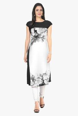 Ziyaa Black & Off White Floral Print Crepe Kurta - Mp000000001982419