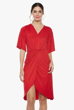 Athena Red Slim Fit Knee Length Knotted Waist Dress