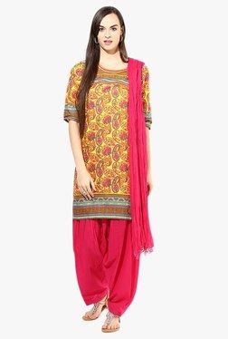 Jaipur Kurti Yellow & Pink Paisley Print Cotton Patiala Set