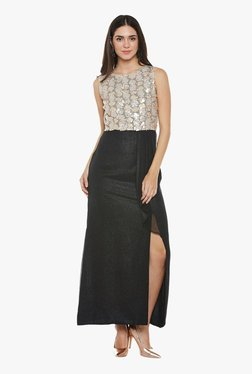 Athena Beige & Black Embellished Maxi Ruffled Dress